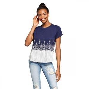 NEW Xhilaration Knit Woven Blouse Top XXL Blue